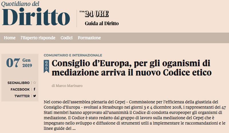 """Link all'articolo """"Consiglio d'Europa, per gli organi di mediazione arriva il nuovo Codice etico"""" - Quotidiano del Diritto de Il Sole24ORE"""